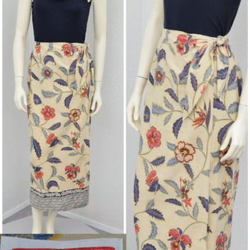 Vintage 90s Talbots Tan Floral Long Wrap Skirt, High Waisted Hawaiian Maxi Skirt,  Border Print Beach Skirt, Size S M