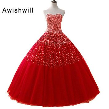 New Sparkly Sweetheart Beaded Ball Gown Prom Dresses 2018 Real Picture Tulle Floor Length Sleeveless Puffy Long Party Dresses