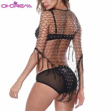 OHDREAM Sexy Beach Shawl Crochet Cover Up Bathing Suit Women Sexy Tunique Plage Fishnet Sequins Swimsuit 2018 Beach Towel C