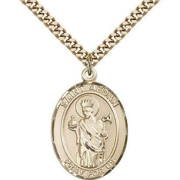 "Saint Aedan Of Ferns Medal For Men - Gold Filled Necklace On 24"" Chain - 30 D... 617759244441"