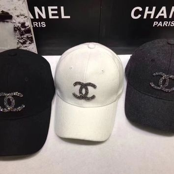 """Chanel"" Women Casual Fashion Diamond Letter Logo Baseball Cap Flat Cap Sun Hat"
