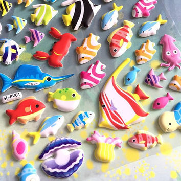 tropical fish sticker colorful ocean fish deep blue sea puffy sticker sea animal fish world turtle cute fish decor underwater theme sticker