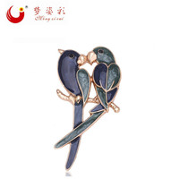 MZC 2016 New Fashion Cute Double Birds Brooch Classic Magpie Broche Pin Women Enamel Parrot Jewelry Cheap Accorries X1592