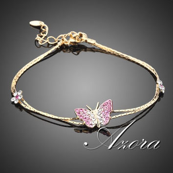 AZORA 18K Real Gold Plated Stellux Austrian Crystal Butterfly and Flower Charm Bracelet TS0008
