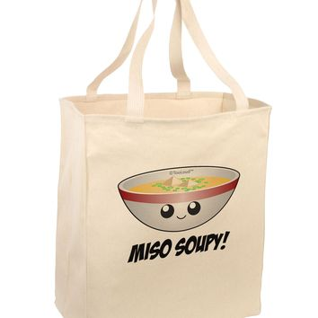 Miso Soupy - Cute Miso Soup Bowl Large Grocery Tote Bag by TooLoud