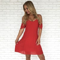 All Year Round Skater Dress In Red