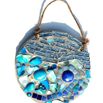 Mosaic Ocean Ornament. Sea Wall Art. Mixed Media Shell Artwork. Beach Wave Decor. Blue Moon.
