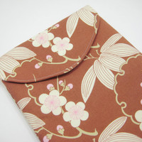 Floral iPad Sleeve, iPad Case, iPad Cover, Brown and Pink, Amy Butler Cherry Blossom Print
