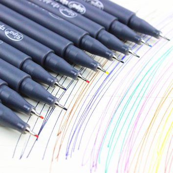 10 pcs/Lot Color drawing pen for Fine line design 0.38mm water-color pens Micron stylo Stationery school supplies F954