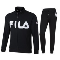 FILA 2018 autumn and winter new sports cardigan men's casual trousers sportswear two-piece Black