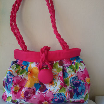 Flowered handbag, multicolor and soft red, chic and trendy women purses, designer handbags, handmade shoulder bags, made in France.