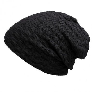 Unisex Men Women Casual Solid Stretchy Braid Pattern Knitted Beanie Hat Winter Fashion