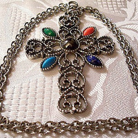 Filigree Gemstone Necklace Silver Tone Vintage Avon 1972 Romanesque Cross Jade Lapis Hematite