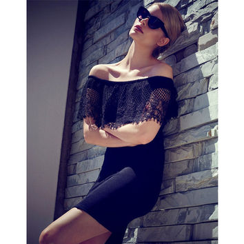 Mini Lace Summer New Arrival Short Sleeve Black One Piece Dress = 4804141252