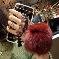 Luxury Double Chain Fringe Mirror Coque Fur Ball Thin Case