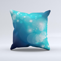 Glowing Blue Teal Translucent Circles Ink-Fuzed Decorative Throw Pillow