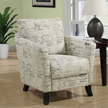 Monarch Specialties 8007 Accent Chair in Vintage French Fabric
