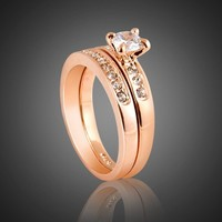 Nickel Free 3mm Band 5mm Cubic Zirconia Engagement Ring Size 5, 6, 7, 8, 9 R25