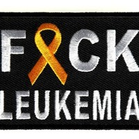 "Embroidered Iron On Patch - Fuck Leukemia [Support Ribbon] 2.75"" Patch"