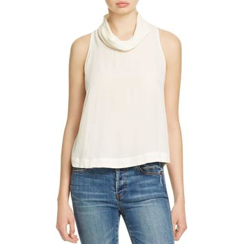 Free People Womens Open Back Cowl Neck Halter Top