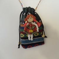 Vintage Handmade Mobile Phone Purse decorated with a Scottish Lass
