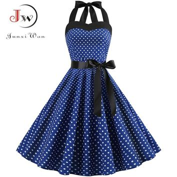 05fdfd7e8b Sexy Halter Party Dress Retro Polka Dot Hepburn Vintage 50s 60s