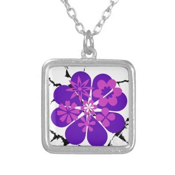 purple and pink flowers square pendant necklace
