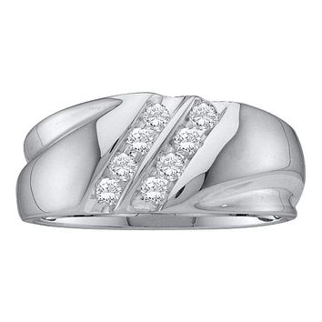 10kt White Gold Men's Round Diamond 2-Row Wedding Band Ring 1/4 Cttw - FREE Shipping (US/CAN)