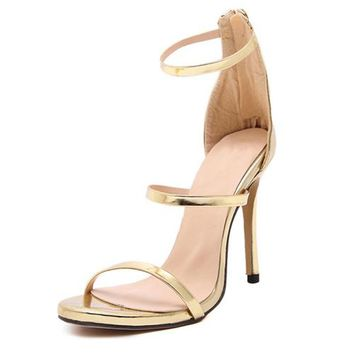 women fashion New Design High Heels Sandals Women Summer Non-Slip Rubber Sole Zip Stilettos Fashion Elegant Party Shoes