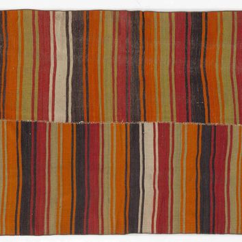 Handmade  Unique Striped Over Dyed Kilim Rug 4'10'' x 12'5'' ft 147 x 379 cm    (Free Shipping)