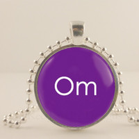 "Om, ohm, purple, 1"" glass and metal Pendant necklace Jewelry."