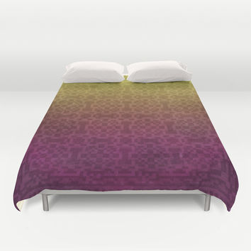 Pixel Patterns Yellow/Magenta Duvet Cover by Likelikes