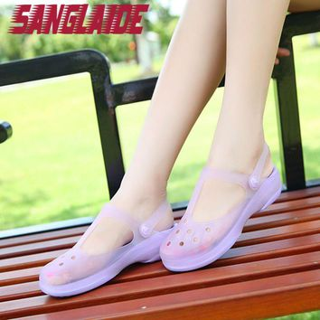 New Authentic SANGLAIDE Warrior Hole Couple Summer Shoes Mules Clogs Garden Shoes For