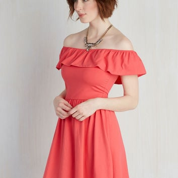 A Lively Story Dress in Coral | Mod Retro Vintage Dresses | ModCloth.com
