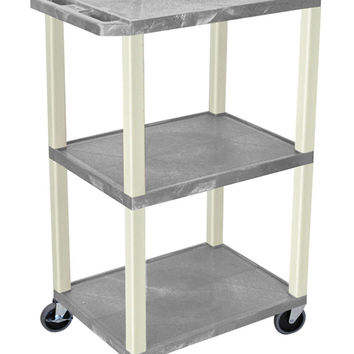 "Luxor Gray 2 Flat Shelf Multipurpose Mobile Multimedia Utility Storage Service Tuffy AV Cart With Lockable Cabinet 42"""" Putty"