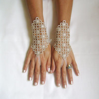 Beige lace Wedding gloves  free ship