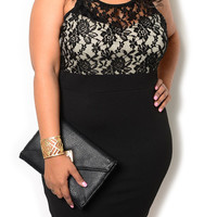 Black Plus Size Chic Sheer Lace Overlay Fitted Date Dress