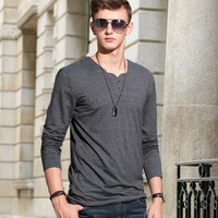 Men Strong Character Mermaid Decoration Long Sleeve Cotton Simple Design T-shirts Bottoming Shirt [6524648195]