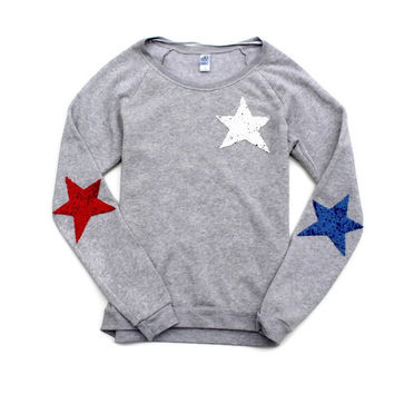 USA Sequin Star Elbow Patch Sweatshirt Jumper - Red, White and Blue