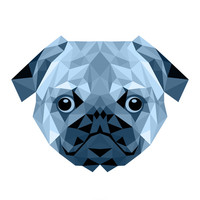 Pug Geometric Blue Canvas Print by Carma Zoe