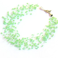 Mint Green Necklace. Bridal Necklace. Multistrand Necklace. Bridesmaid Necklace. Beadwork.
