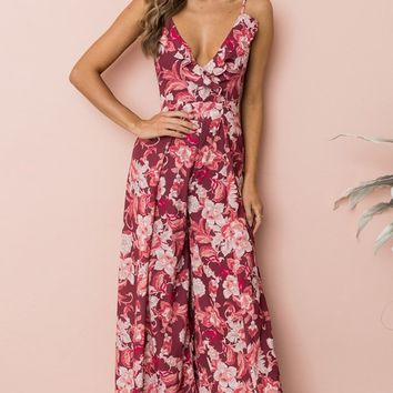 Tropical Vacation Red Pink Floral Sleeveless Spaghetti Strap V Neck Cut Out Tie Back Jumpsuit Pattern