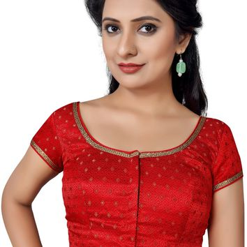 Red Brocade Designer Saree Blouse SNT-X-433-SL