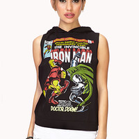 FOREVER 21 Sporty Iron Man Sweatshirt Black/Blue Medium