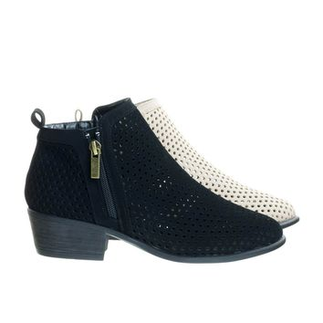 Sadie32 Black By Bamboo, Low Stack Block Heel Ankle Booties w Laser Circle Perforated Holes