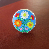 blue polymer clay ring,blue boho ring,spring ring,blue hippie ring,blue flower ring,blue floral cameo ring,adjustable ring,vintage,retro