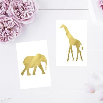 4x6 Gold Printable Animal Table Cards,  Gold Table Cards, Safari Animals, Gold Safari Animal Printables, Party Printables, Table Decorations