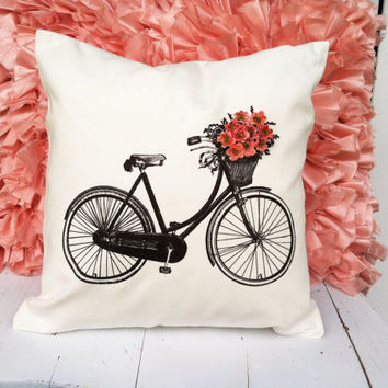Vintage Bicycle Decorative Throw Pillow Cover