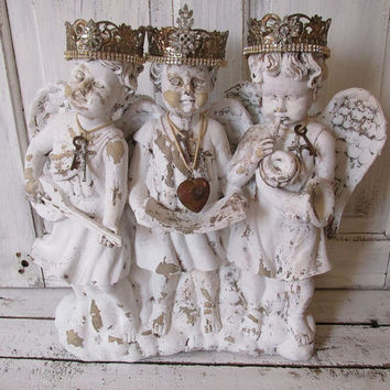 Large Cherub Statue Trio Painted White Shabby Cottage Chic Distressed Angel  Grouping French Nordic Handmade Crowns