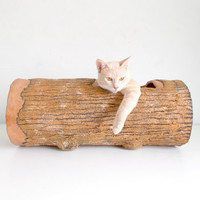 50% Meow Special Treats - Large Hideout Log - Rustic woodlike tunnel for awesome cat!